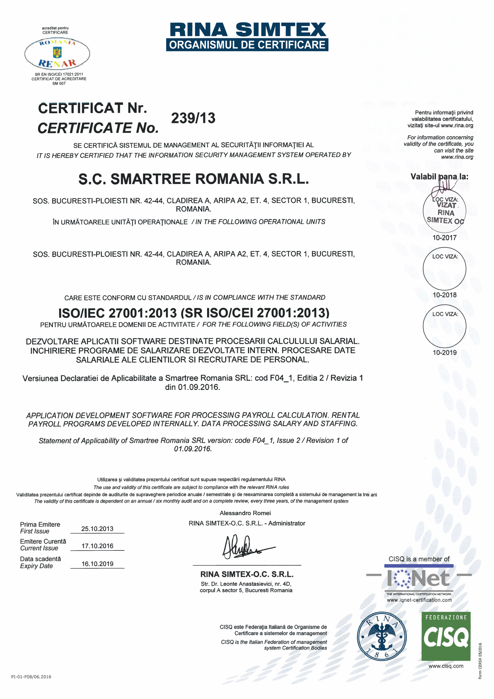 smartree certification ISO 27001:2013